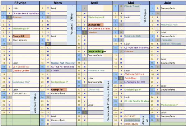 Planning Adultes